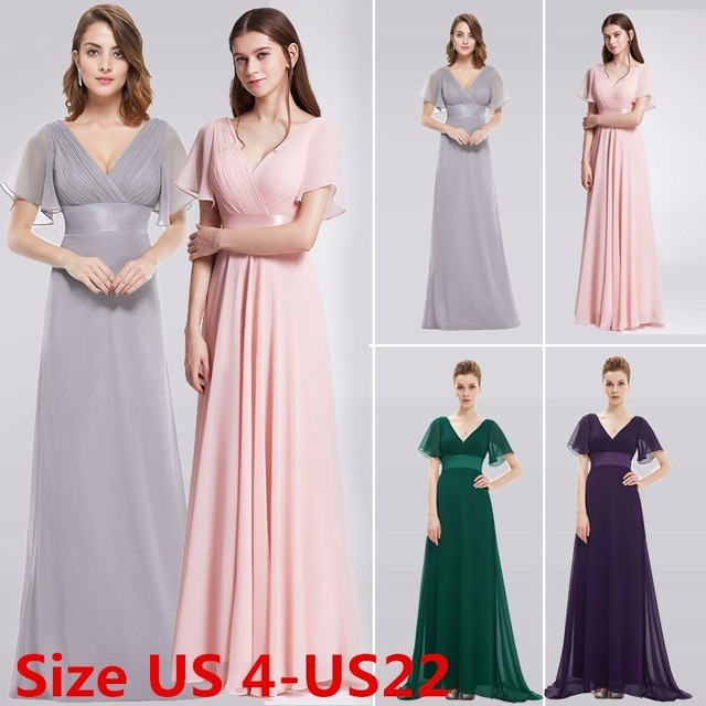 fa39a25a98e2 Purple Plus Size Bridesmaid Dresses Long 2018 A-line V-neck Short Sleeve Chiffon  Wedding Guest Dresses Elegant Pink Party Gowns