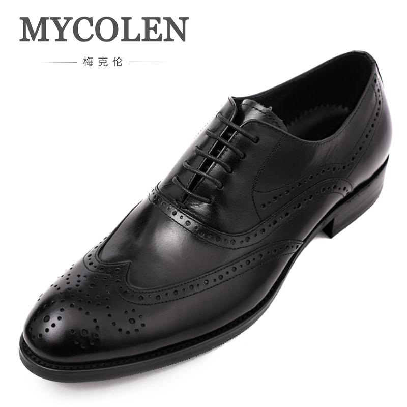 MYCOLEN Men Shoes Modern Gentlemen Formal Business Oxfords Genuine Leather Mens Wedding Party Vintage Dress Shoes Man Brogue ch kwok crocodile wine red mens dress oxfords genuine leather men wedding party formal shoes oxfords breathable lace up shoes