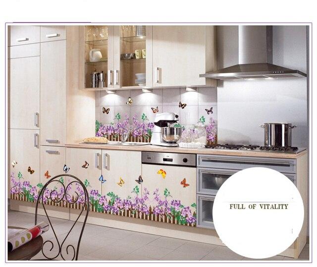 Pagar Bunga Kupu Desain Stiker Dinding Untuk Hiasan Dari Dapur R Mandi