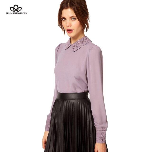 2016 spring new retro vintage beaded embroidery collar angle hem violet lavender purple pink women chiffon blouse shirt top
