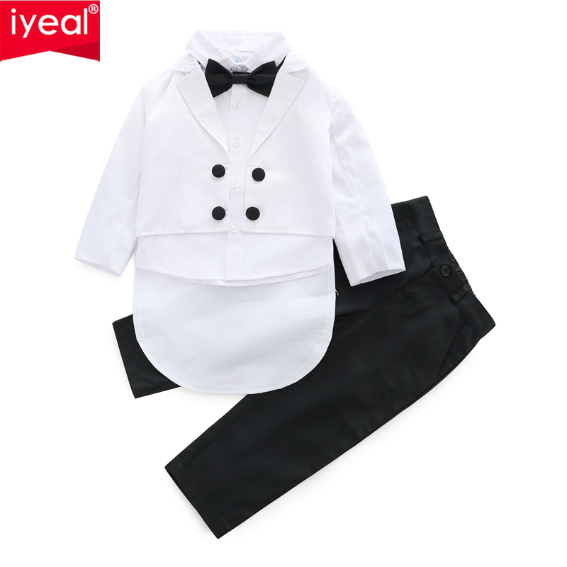 IYEAL Baby Boys Suits 3 Pieces/Set Formal Tuxedo Suit Baby Boy Baptism Christening Gown Infant Party Wedding Clothing Set 1-5Y boys suits 3 piece wedding suit prom page boy baby formal party 3 colours