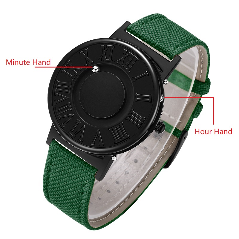 EUTOUR Watch Man  Canvas Leather Strap Mens Watches Magnetic Ball Show Quartz Watches Fashion Male Clock Wristwatches 1