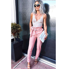 Summer Ladies Printed White Double Striped Pants Pink OL Women Drawstring Pencil Trousers