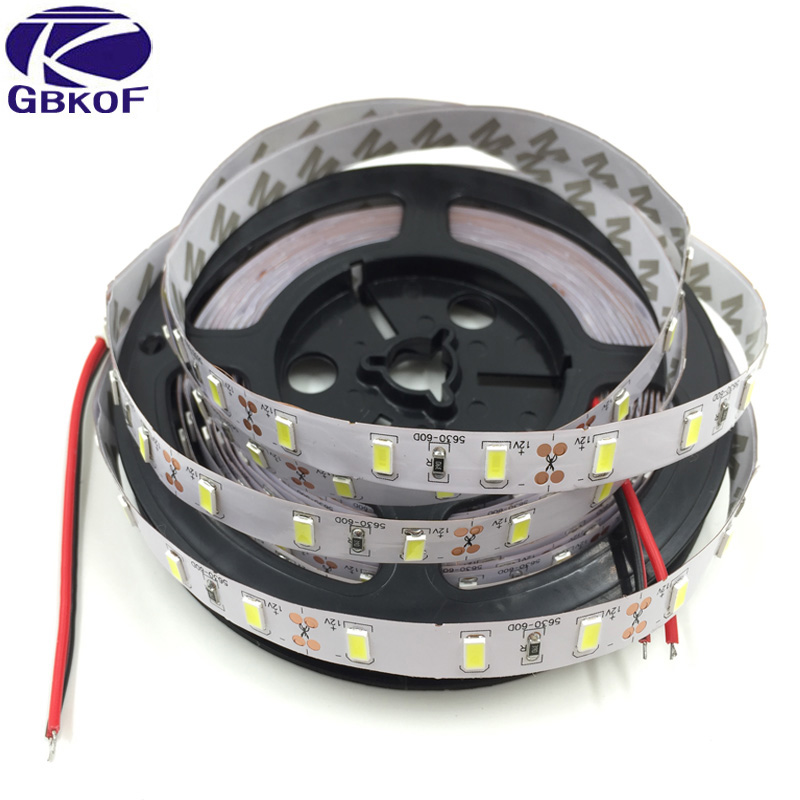 5m Super Bright SMD 5630 LED strip flexible light 12V Non-Waterproof Fita tape diodes lamp Christmas Lampada White/Warm white