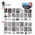 2016 6*12 cmBlack Padrão de Transferência De Rendas Projeto Prego Carimbar Placas De Imagem Grande Modelo de Impressão Do Prego Stencil Selos DIY ferramentas Konad