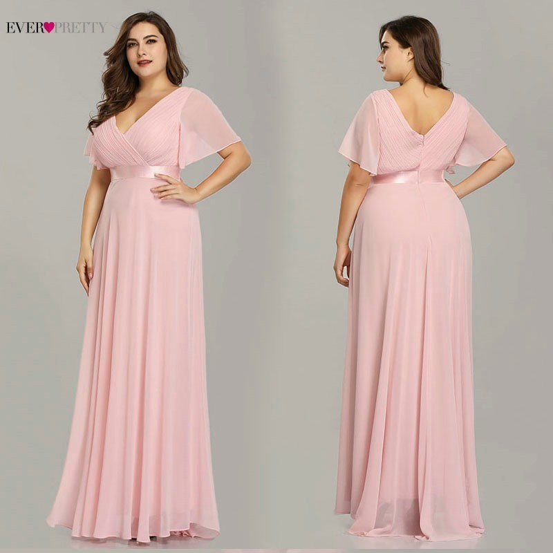 Image 3 - Plus Size Formal Evening Dresses Ever Pretty Elegant Burgundy Glamorous Ruffles Padded Chiffon Evening Gowns with Short Sleeves-in Evening Dresses from Weddings & Events