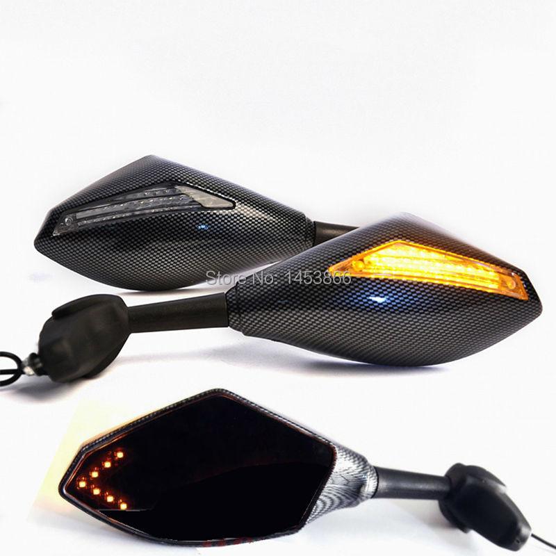 2016 Motorcycle LED Turn Signal Integrated Mirrors Rearview Mirror for Kawasaki Ninja ZX-6R Yamaha R6 R1 FZ6 FZ1