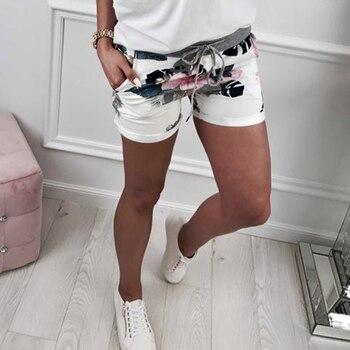 Casual Summer Fashion Women Bottom Bandage Waistt Floral Print Women Short Pants Plus Size WS8909R