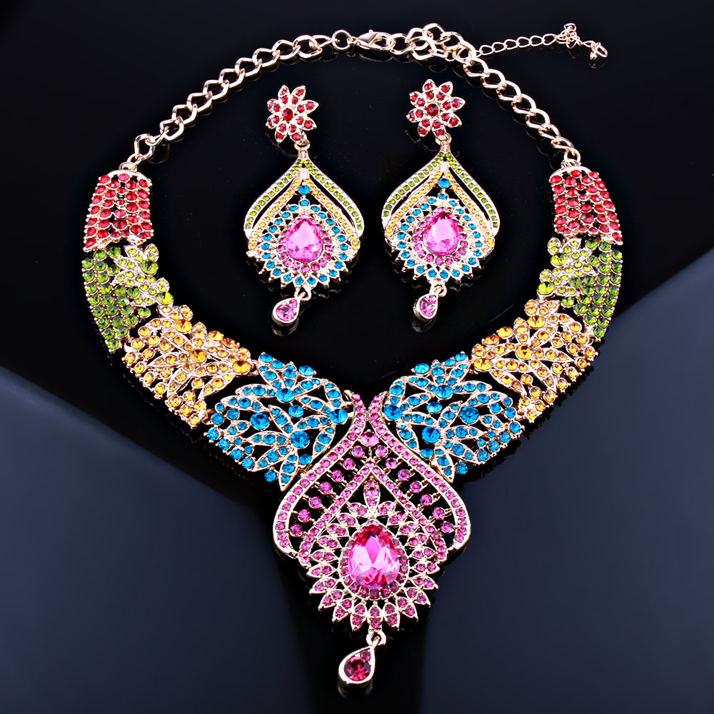 Moroccan Style Bridal Necklace Earrings Set With Full Ab Rhinestones Crystal Fashion Wedding