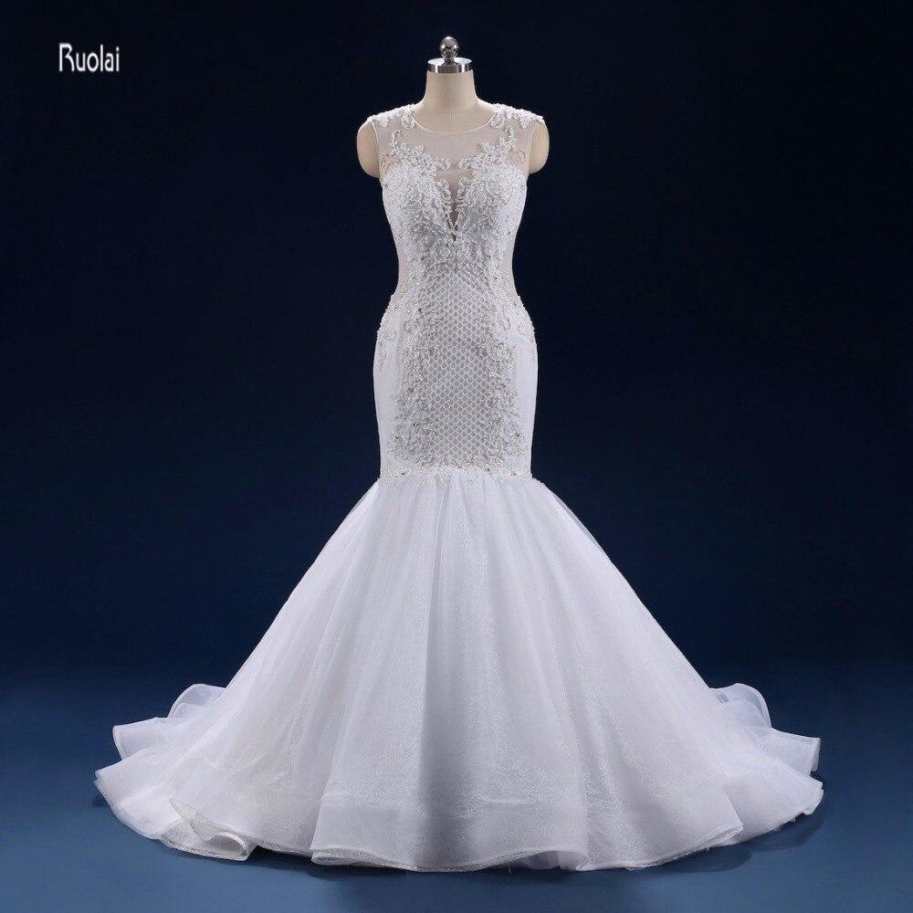 Кружевное Свадебное платье Русалка 2018 шлейф Бисероплетение Аппликации Королевское свадебное платье vestidos de noiva princesa