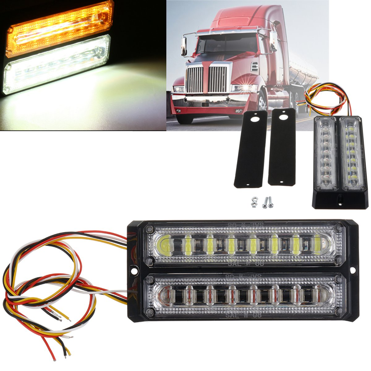 Two Row Waterproof 2x8LEDs Car Truck Trailer Lorry Side Marker Lights Indicated Lights Lamp For Bus Car Truck Universal