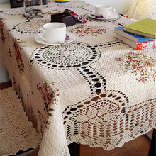 Envío gratis algodón de lino tela de encaje de ganchillo mantel 135 * 180 cm pastoral europea té paño de tabla / cubierta