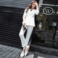 woman suits lady suit office Small suit female suits long slim all match pure spring coat Korean occupation work Two piece/ set
