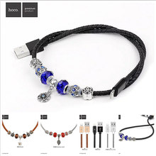 Original HOCO Pandora Leather Bracelet Data Sync Charger USB Cable for Lightning Cable PU & Stainless steel Cable for iPhone 6 7