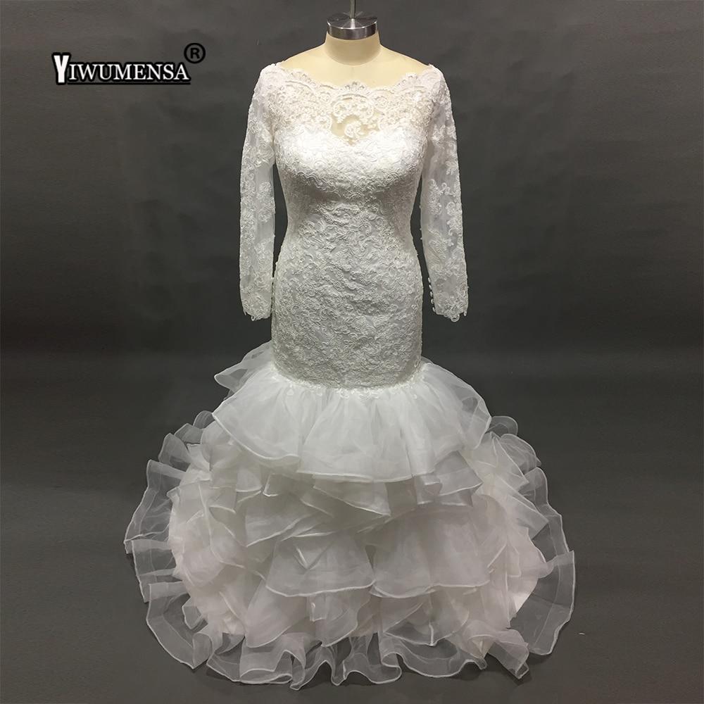South Africa Mermaid Long Wedding Dress Plus Size Bridal Gown Organza Ruffles Tiered Wedding Dresses Vintage Vestidos De Novia