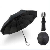 Regenschirme Wind Beständig Voll-automatische Männlichen Drei Falten Kommerziellen Compact Große Durable Rahmen Winddicht Schwarz 10K Sonnenschirm