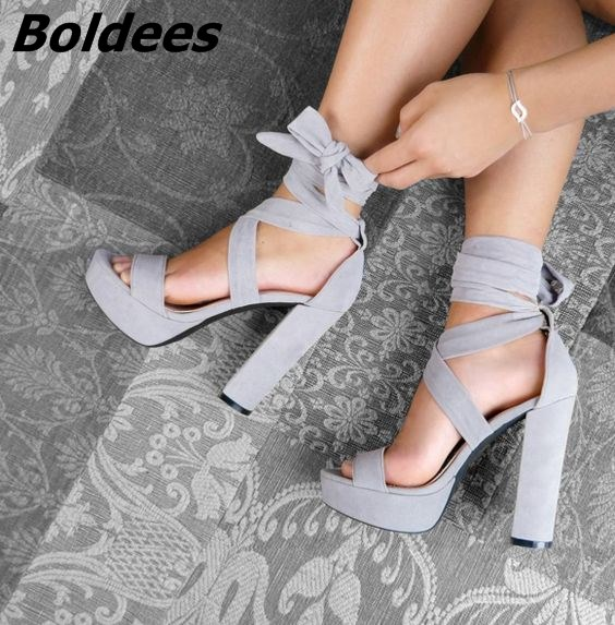 Light Grey Block Heeled Platform Sandals Women Designer Ankle Lace Up Chunky Heeled Dress Shoes