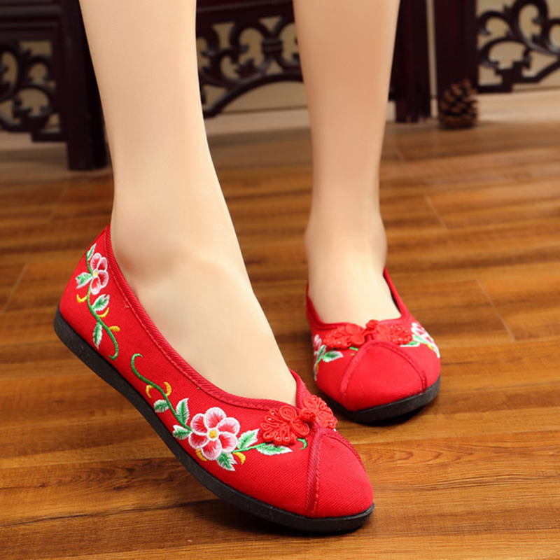 Vintage New Women Flats Shoes Flower Embroidered Cotton Breathable Shoes For Women Ladies Old Peking Dance Soft Flat vintage embroidery women flats chinese floral canvas embroidered shoes national old beijing cloth single dance soft flats