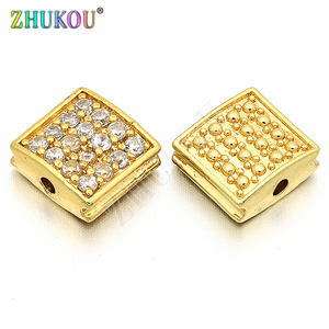 9*10mm Brass Cubic Zirconia Rectangle Charms Connectors DIY Jewelry Findings, Hole: 1.5mm, Model: VS122
