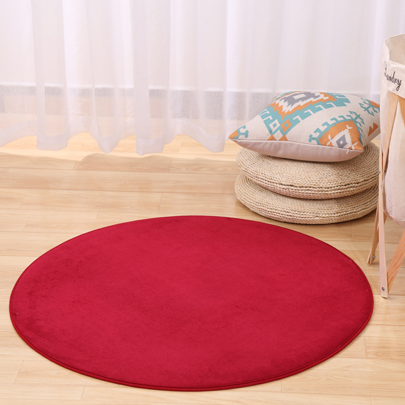 Yuvarlak 100cm katı flanel bellek köpük halı alan kilim yatak odası paspas zemin mat yeşil/kırmızı/gri Yoga sandalye paspaslar oturma odası