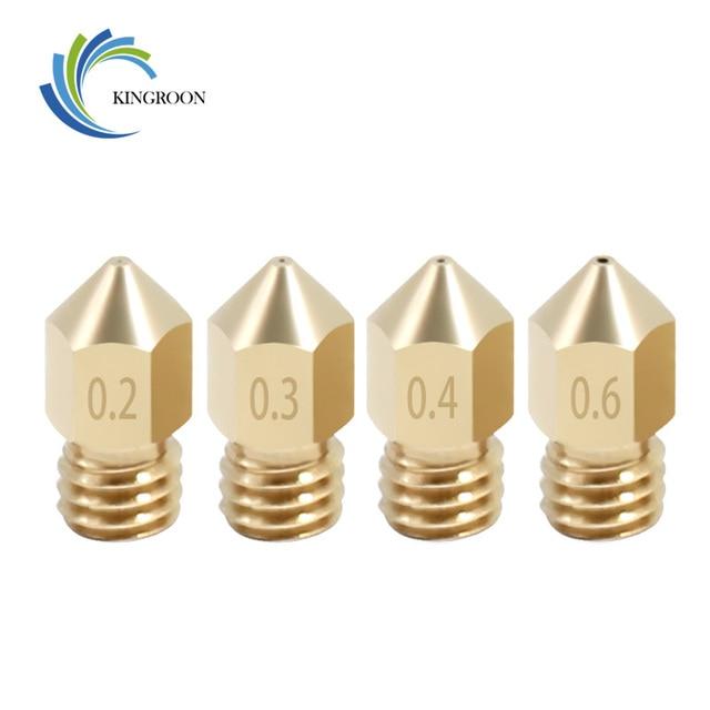 KINGROON 5 pcs MK8 Copper Bicos Para 3D Peças Da Impressora 0.2/0.3/0.4/0.5/0.6/ 0.8/1.0mm J-cabeça do Bocal de Extrusão Para 1.75mm Filamento