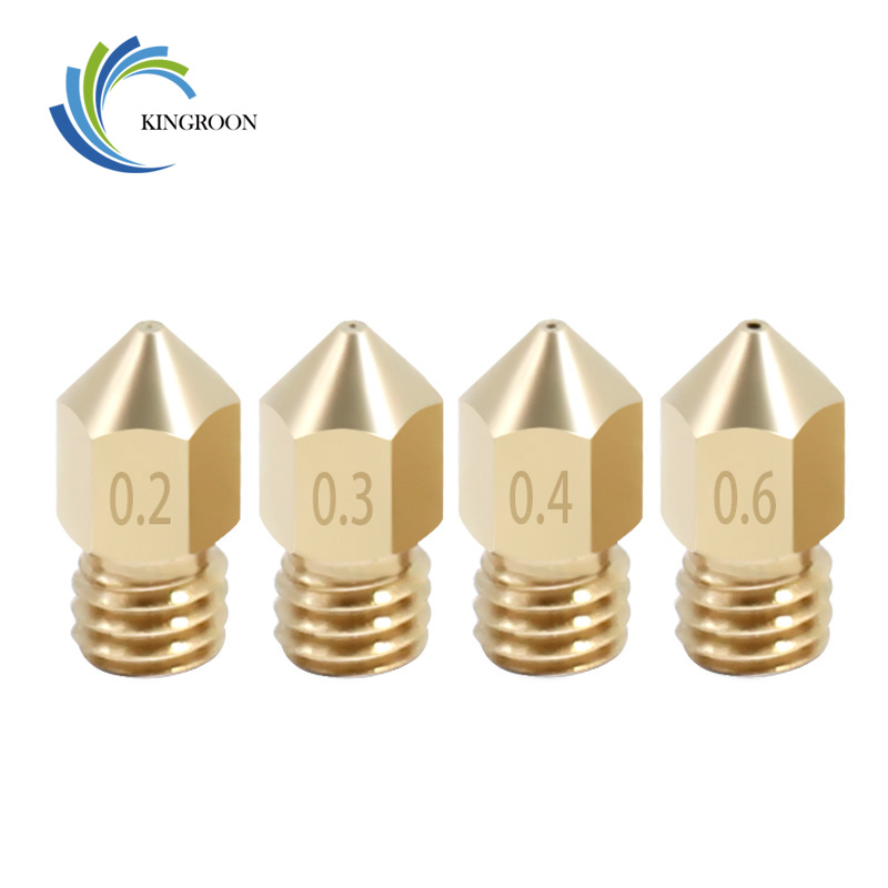 KINGROON 5PCS MK8 Copper Nozzles For 3D Printer Parts 0.2/0.3/0.4/0.5/0.6/0.8/1.0mm J-head Extrusion Nozzle For 1.75mm Filament