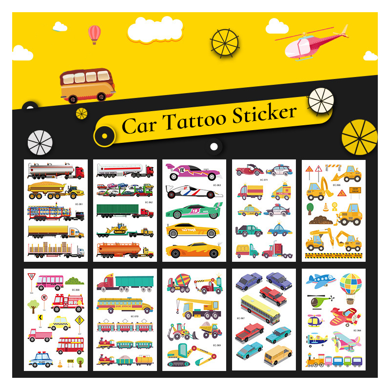 Waterproof Cartoon Car Temporary Tattoo Construction Vehicle Sticker Plane Ship Excavator Sticker Boys Child Birthday Party Gift