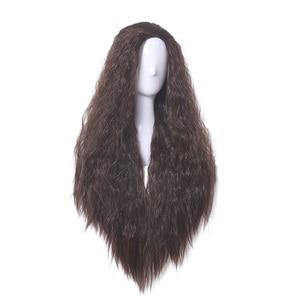 Image 2 - L email peluca Moana para Cosplay, peluca de Cosplay de princesa, rizado largo, marrón oscuro, cabello sintético resistente al calor para Halloween