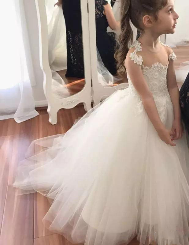 2019   Flower     Girl     Dresses   For Wedding Sheer Jewel Neck Capped Sleeves   Girl   Ball Gown Floor Length Flowergirl   Dress   Cu
