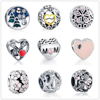 Dropshipping Heart Flower Beads Charms Fit Original Pandora Bracelets & Bangles DIY