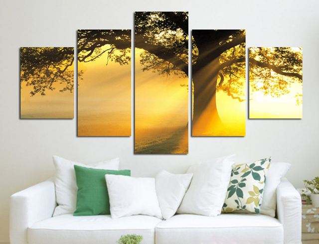 Modern Canvas Printed Sunshine Tree Wall Pictures Por Living Room 5 Panel Beautiful Painting No