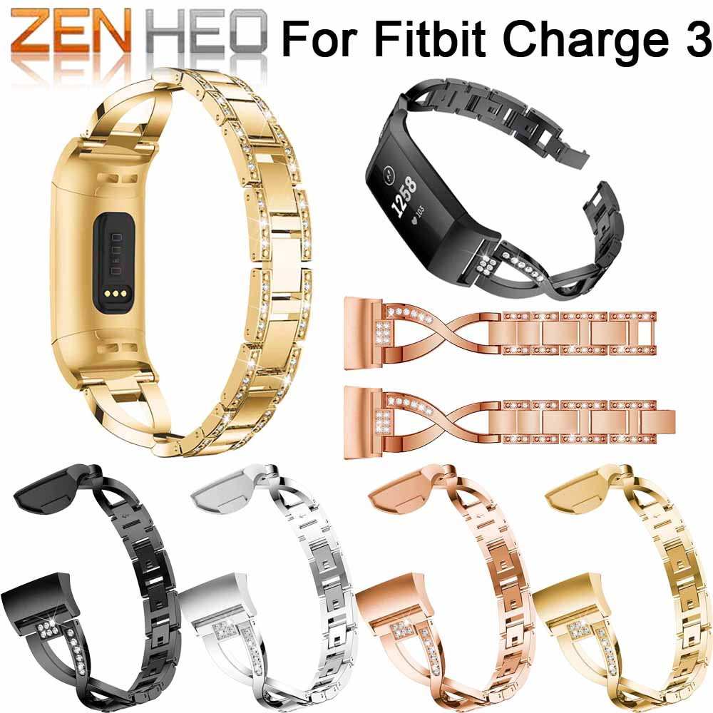 Watch-Band Bracelet Replacement Fitbit Charge Stainless-Steel Metal-Wrist-Strap for Bling