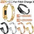Pulseiras de relógio para fitbit carga 3 bandas substituição aço inoxidável metal pulseira de pulso bling strass para fitbit carga 3
