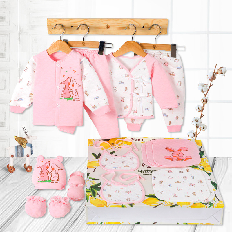 High Quality Thicken Warm Newborn Rabbit Underwear Clothing 100 % Cotton Baby Gift Set Infant 16 Pieces Clothing Gift Set warm thicken baby rompers long sleeve organic cotton autumn