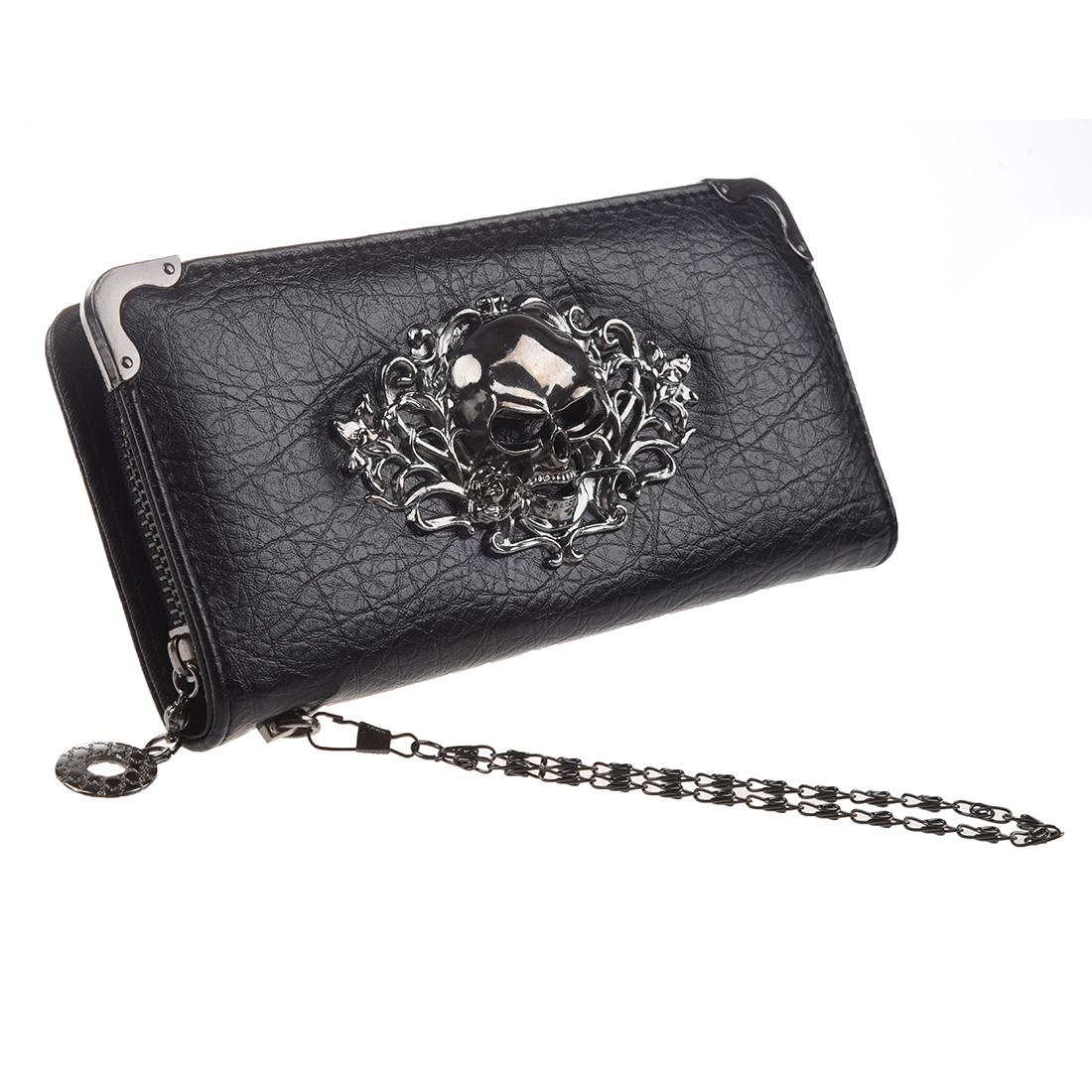 2018 New Hot Fashion And Good Quality PU Cool Retro Sliver Color Skull Long Wallet For Women Vintage Black Clutch Bag Purse