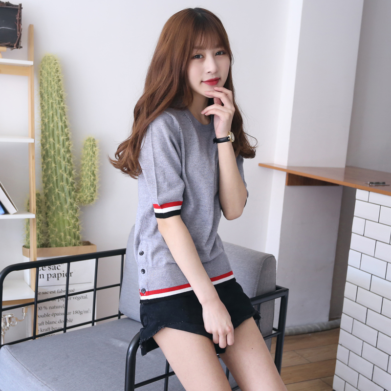 New Ladies Striped Sweater For Spring Summer Korean Sweater Woman Summer Short Sleeve Striped Pullover Women D369