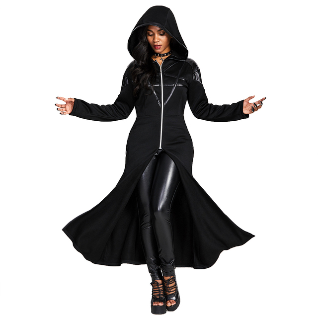Casual Gothic Print Hoodie Women Hooded Sweatshirt Long Sleeve Plus Size Autumn Fashion Zipper Punk Long Tops Black Hoodies 2019