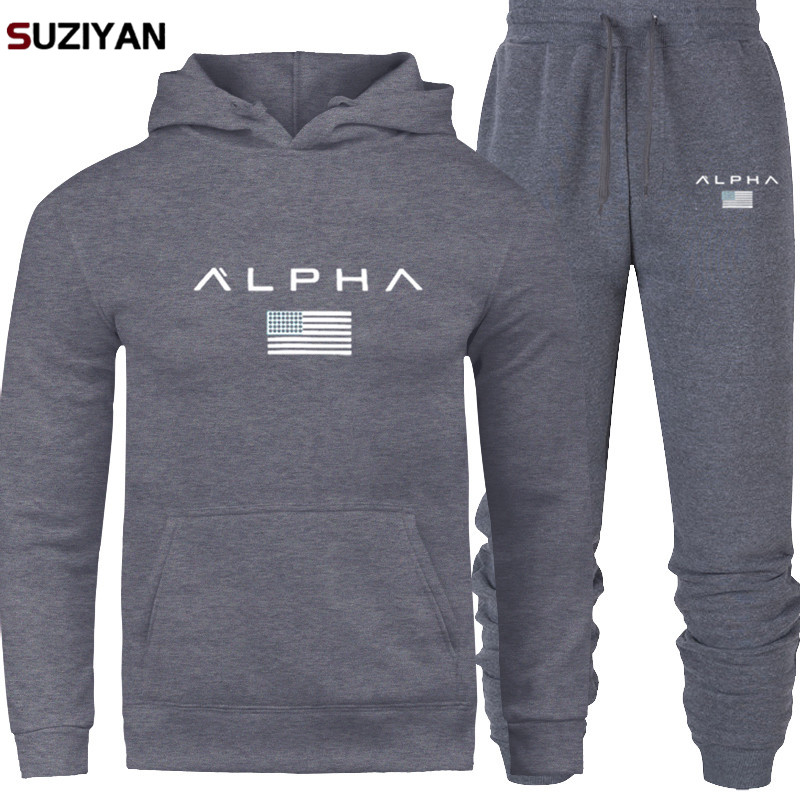 2019 Brand Large Size Tracksuit Men Set Sporting Suit Track Sweat Print AlpSweatsuit Male Sportswear Jackets Hoodie And Pants