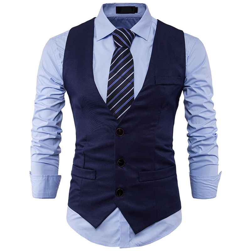 Laamei  Men's Fashion Slim Suit Vest Single Row Three Button Lapels Solid Color Gentleman 2018 New Male Vest