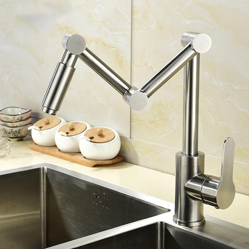 304 en acier inoxydable robinet de cuisine lavage de légumes bassin évier pliant froide et chaude mélangeur robinet assis pivotant robinet seul trou