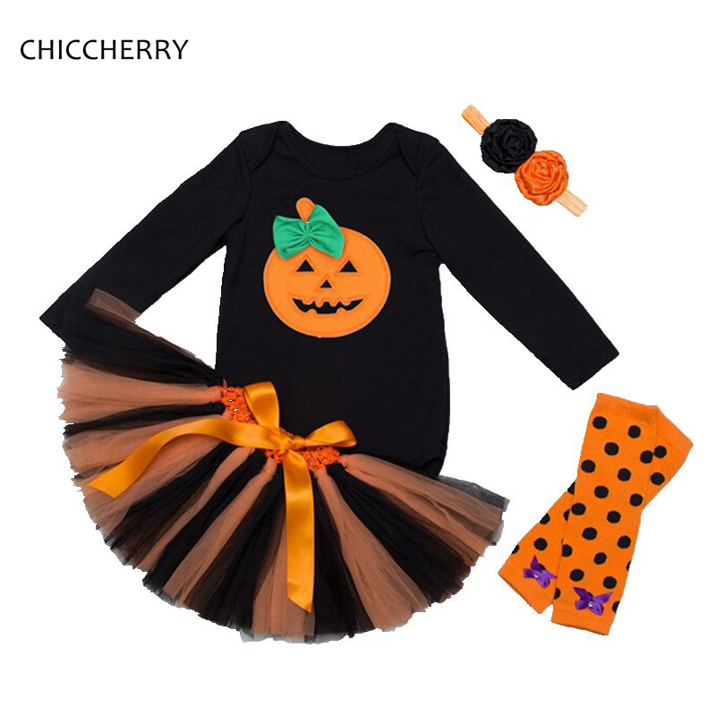 Baby Pumpkin Halloween Costumes Long Sleeve Bodysuit Lace Tutu Skirt Headband LegWarmers Girls Halloween Outfits Infant Clothing