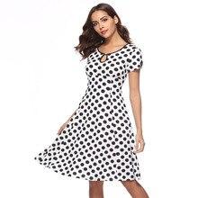 vestido Short Sleeve A Pendulum Wave Point Circle polka dot dress vintage woman clothes elegant retro sukienka plus size jurken недорого