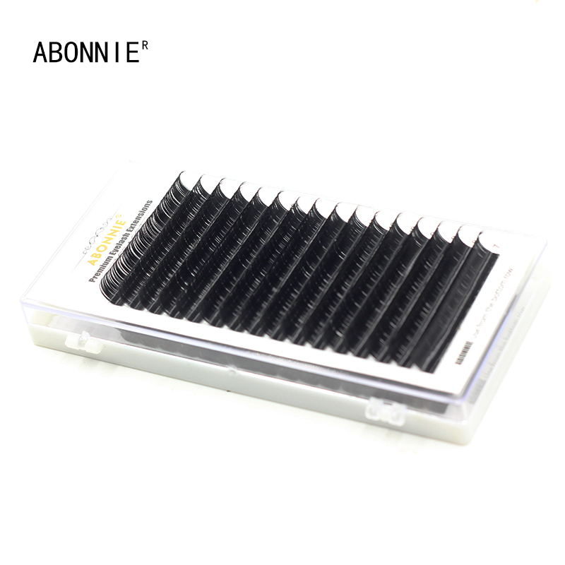 New Arrived 16rows case 7 15mm Mix One Tray Natural Synthetic Mink Individual Eyelash Extension Makeup Cilia Professional Lashes in False Eyelashes from Beauty Health