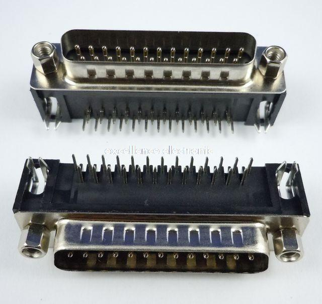 5 Pcs D-SUB 25Pin Male Right Angle PCB Connector 2 Rows 10 pcs d sub vga db 15 pin male solder type connector socket 2 rows db15f male