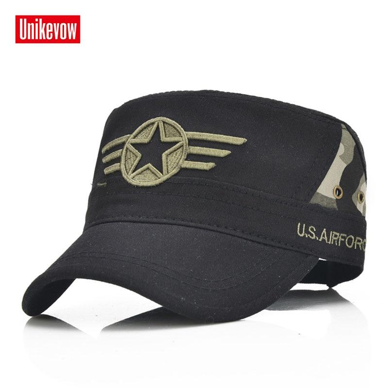 100% katoen leger baseballcap vijfpuntige ster geborduurde platte hoge hoed voor mannen en vrouwen