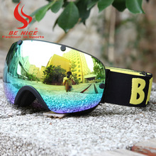 BE NICE professional snowboards high coverage ski goggles snow glasses snowboard goggles anti fog winter glasses for adult 2300