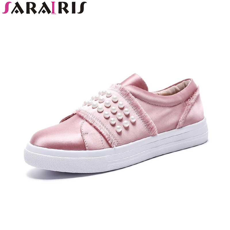 SARAIRIS hot sale size 33-40 silk pearl Flats Shoes Woman black pink sweet Casual loafers Women Shoes footwear fashion women shoes woman flats high quality comfortable pointed toe rubber women sweet flats hot sale shoes size 35 40