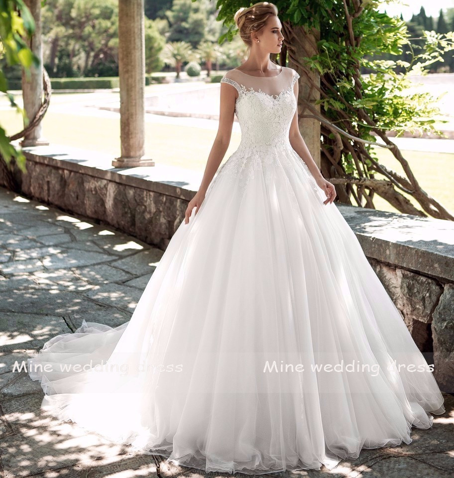 Scoop Wedding Dress Vestido De Noiva 2019 Bride Dress Plus Size Lace Appliques With Beading Backless Wedding Gowns