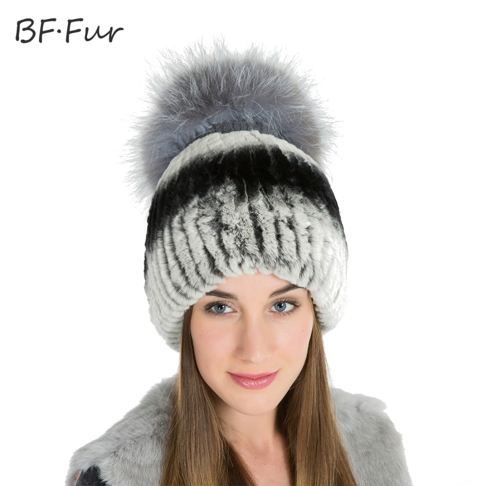 BFFUR Rex Rabbit Fur Hat Women Winter Free Cap With Real Fur Ball Beanies Winter Hat For Lady Rabbit Fur Hat Russian BF-M0014