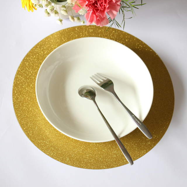 12 Inch Round Paper Placemat For Bridal Showers Partie New Year S Eve Table Glitter Gold